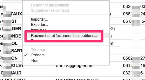 dédoublonner les contacts gmail
