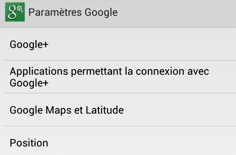 application parametres android
