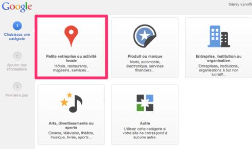 page G+ locale, créer