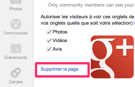 supprimer page g+