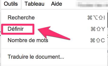 pour avoir la définition d'un terme dans un google document