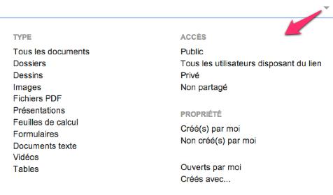 Google Drive, recherche avancée