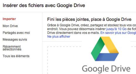 piece jointe enorme avec gmail, google drive