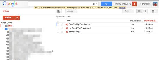 MP3 dans Drive Google