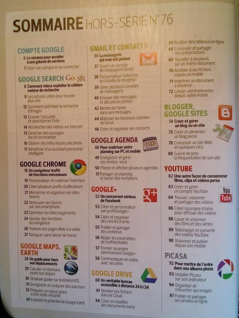 le sommaire du guide complet Google selon 01net