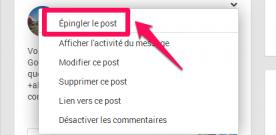 Google+ : épingler un post sur une communauté.