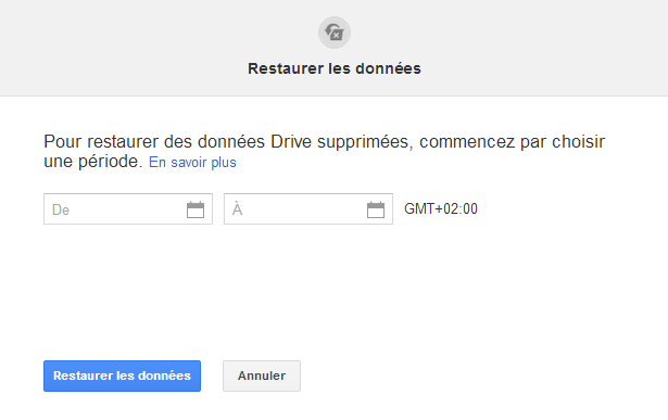 restaurer donnees google drive