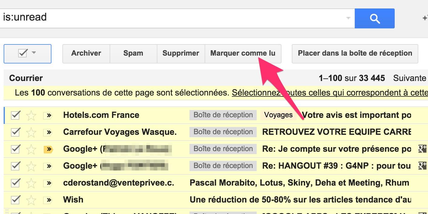 supprimer d u0026 39 un coup tous les messages non lus dans gmail