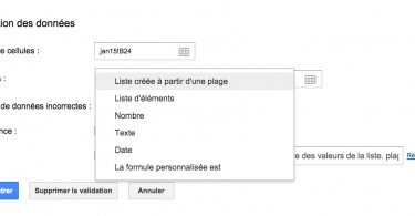 validation de données Google Sheets