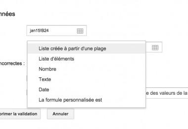validation de données GoogleSheets