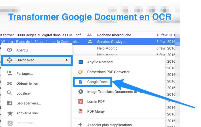 transformer google docs en ocr