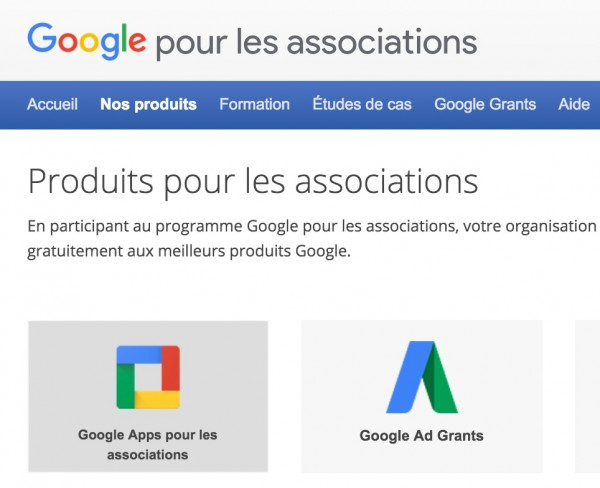 Google Apps : gratuit pour les associations.