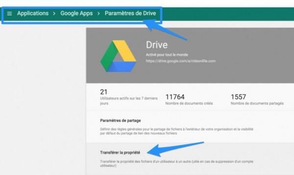Drive : transfert de propriété d'un fichier