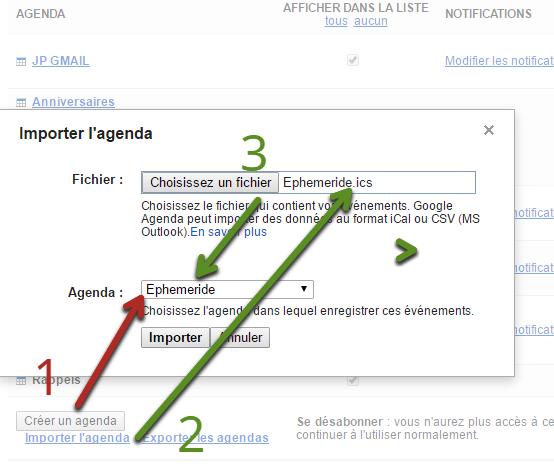 Ajouter un éphéméride à Google Agenda