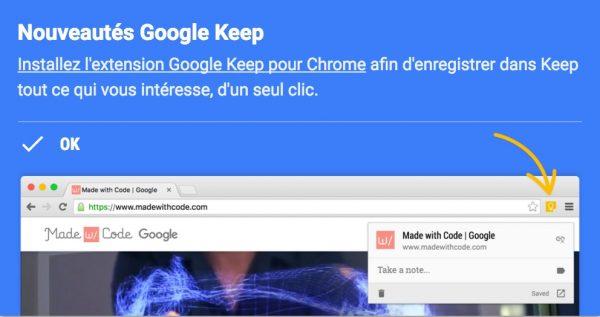 Enregistrer vos liens dans Keep avec l'extension Chrome