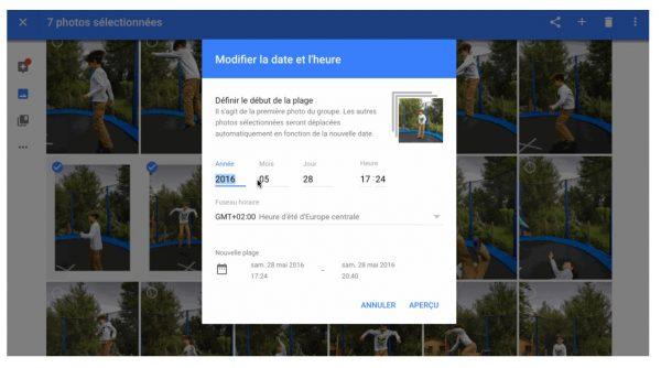 Ajuster facilement la date et l'heure de plusieurs photos.