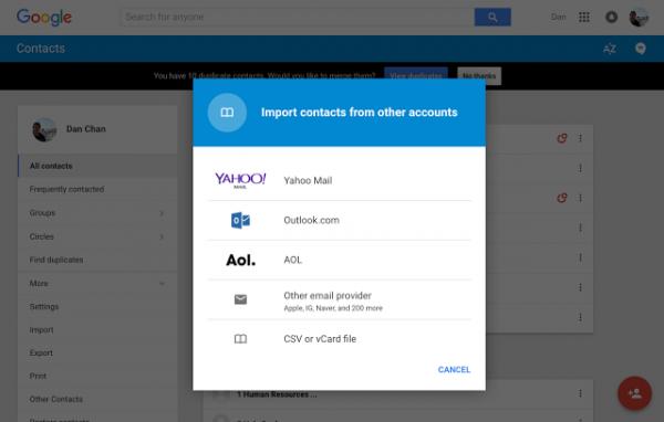 L'importation de contacts encore plus facile !