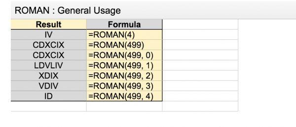 Gsheet transformer un nombre en chiffres romains et vice versa
