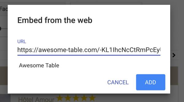 Awesome Table déjà dispo dans le nouveau Gsite.
