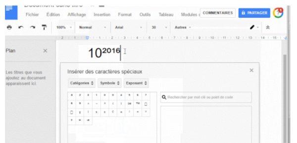 Google Tableur : comment mettre un exposant ?