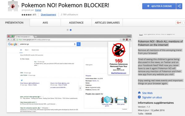 Pokemon No : l'extension qui supprime les Pokemons