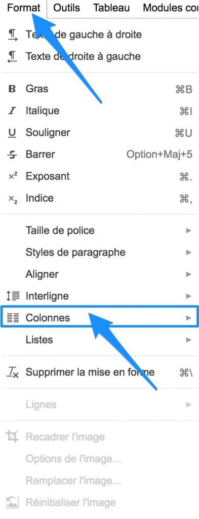 2 ou 3 colonnes Google docs