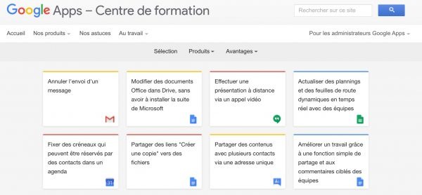 Le centre de formation Google Apps