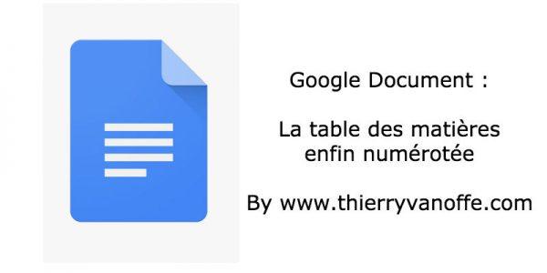 Gdoc : numéro de pages dans les tables des matières