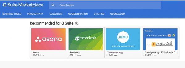 G Suite : les nouvelles applications recommandées par Google.