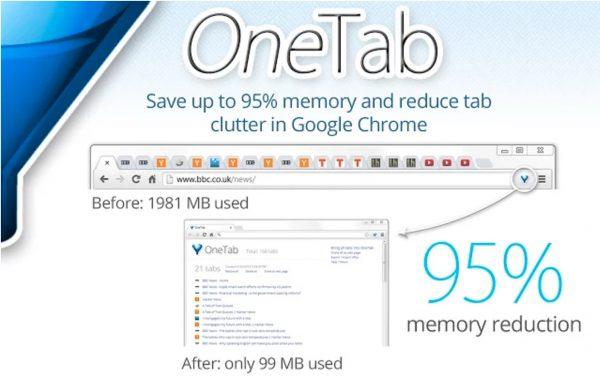 Chrome : l'extension Onetab