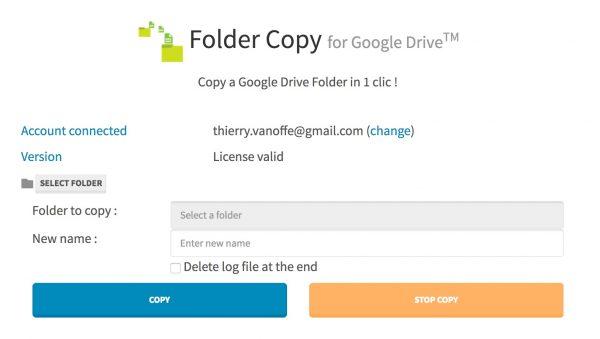 Folder Copy : une application pour copier un dossier du Drive.