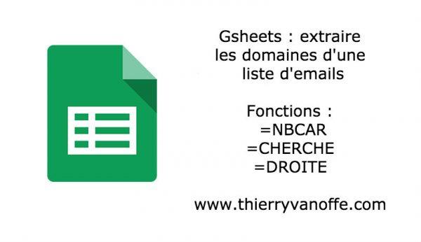 Gsheets : extraire les domaines d'une liste d'emails