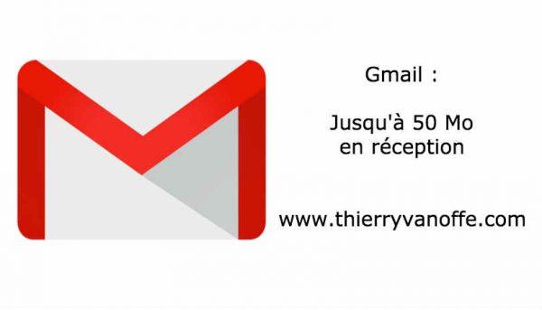 Gmail : jusqu'à 50 Mo en réception