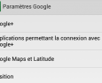 Android : application Paramètres Google