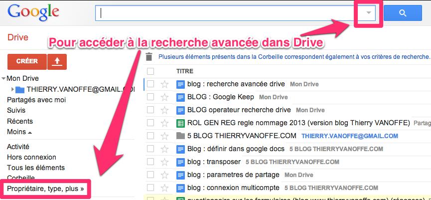 Google Drive : recherche avancée