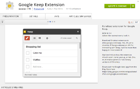google keep extension chrome