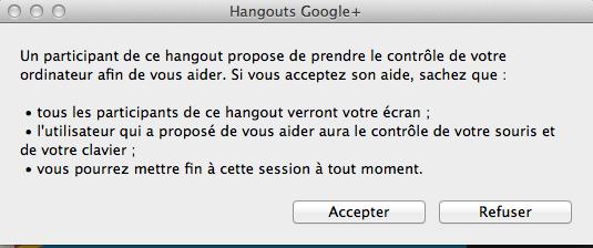accepter hangout google+ contrôle ordinateur