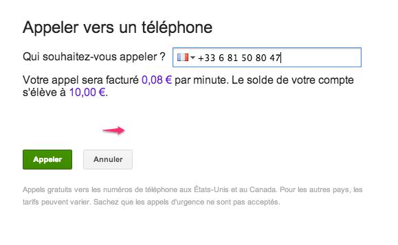 google+ appeler sur un téléphone