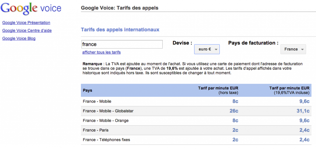 tarif hangout google+ appel téléphonique