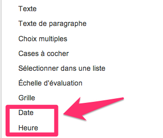 google formulaire date heure