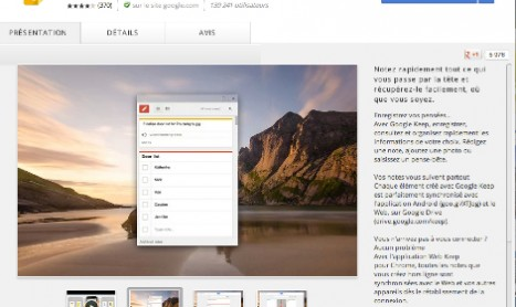 CHROME : APPLICATION GOOGLE KEEP