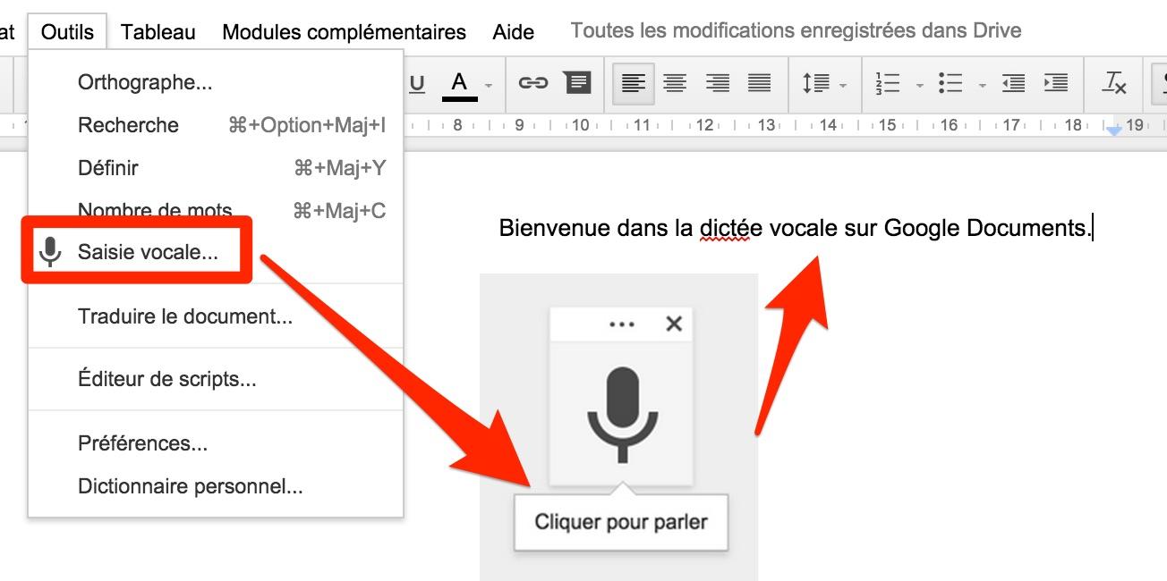 La saisie vocale sur Google Documents.