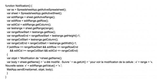 Notifications dans Google Tableur.