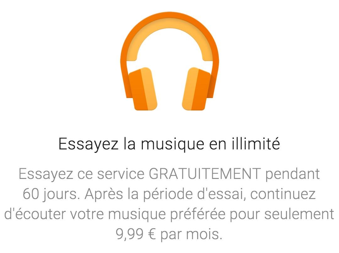 Google Play Music offert 60 jours