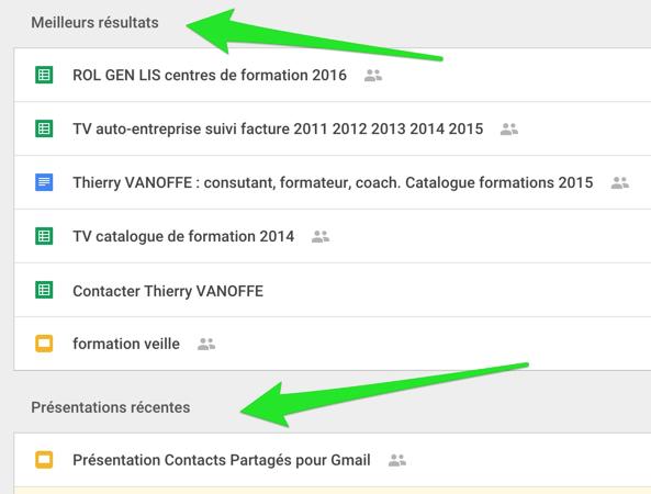 Recherche simplifiée à travers Google Docs, Sheets et Slides