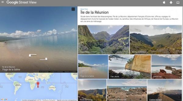 Découvrez 255 km de pistes sur l'île de la Réunion avec Street View.
