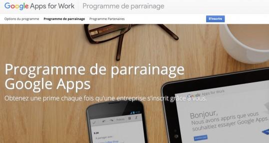 Programme de parrainage Google Apps