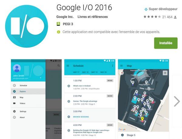 L'application officielle Google I/O 2016