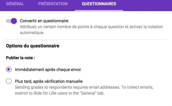 Google Formulaire offre des quizz autocorrigés.