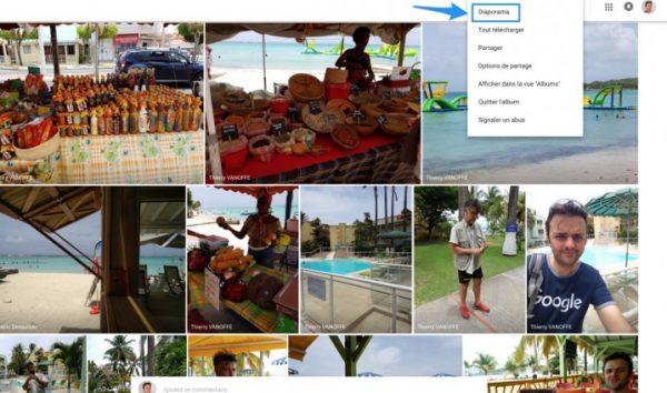 Le mode diaporama dans Google Photos